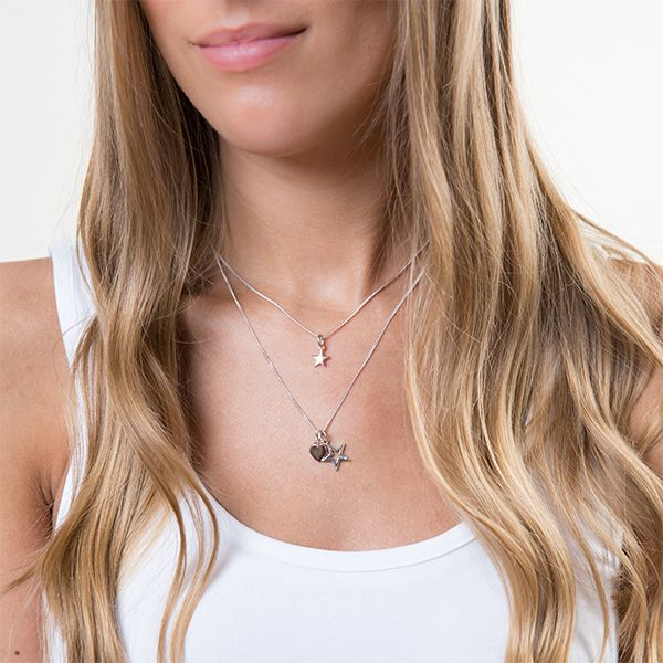 Steff Bloomsbury Silver & Diamond Star Pendant with chain