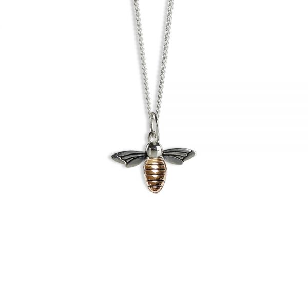 Steff Wildwood Silver & Rose Gold Plated Bee Pendant with chain