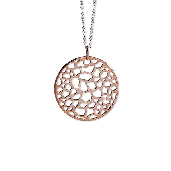 Steff Bermondsey Maxi Rose Gold Plated Sterling Silver Disk Pendant with Chain