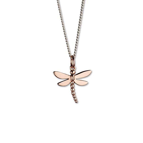 Steff Bloomsbury Rose Gold Plated Silver & Diamond Dragonfly Pendant