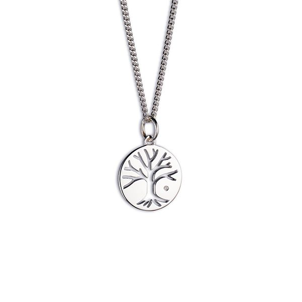 Steff Bloomsbury Silver & Diamond Tree Of Life Pendant with chain