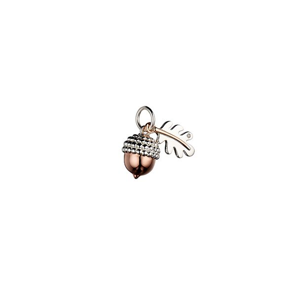 Steff Bloomsbury Rose Gold Plated Silver & Diamond Acorn Charm