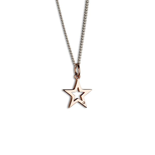 Steff Bloomsbury Rose Gold Plated Silver & Diamond Star Pendant