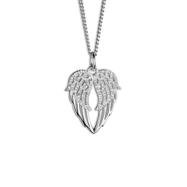 Steff Highgate Silver & Diamonds Angel Wings Heart Pendant with chain