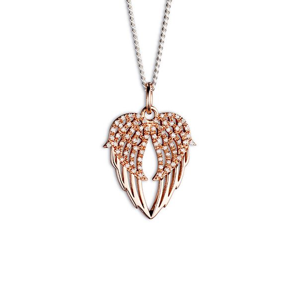 Steff Highgate Rose Gold Plated Silver & Diamonds Angel Wings Heart Pendant