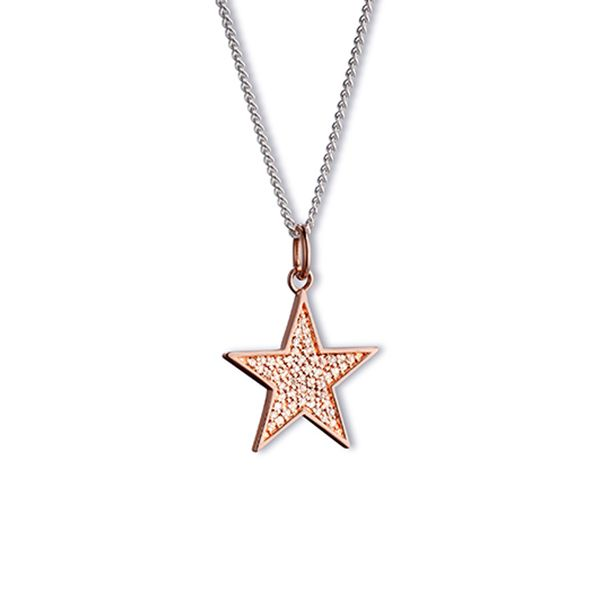 Steff Love Lane Rose Gold Plated Silver & Pave Diamond Star Pendant with Chain