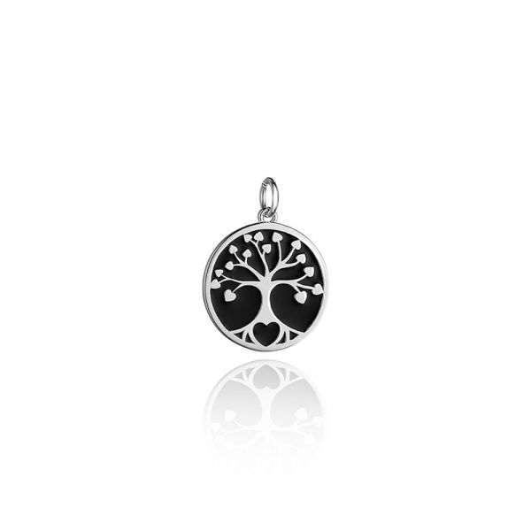 Steff Wildwood Silver Black Enamel Family Tree of Life Pendants