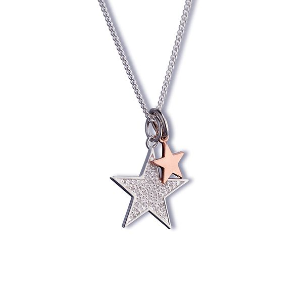 Steff Love Lane Rose Gold Plated Star and Silver & Pave Diamond Star Pendants with Chain