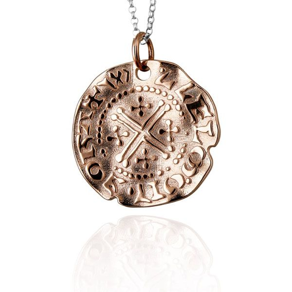 Steff Rose Gold Short Large Cross Coin Pendant with Chain