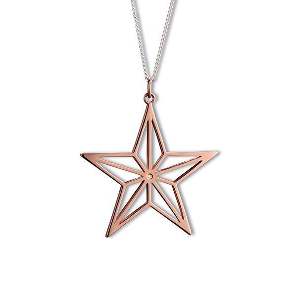 Steff Love Lane Rose Gold Plated Silver & Diamond Star Pendant with a Fine Curb Chain