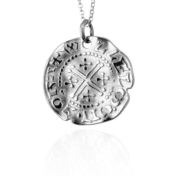 Steff Silver Short Large Cross Coin Pendant With Chain
