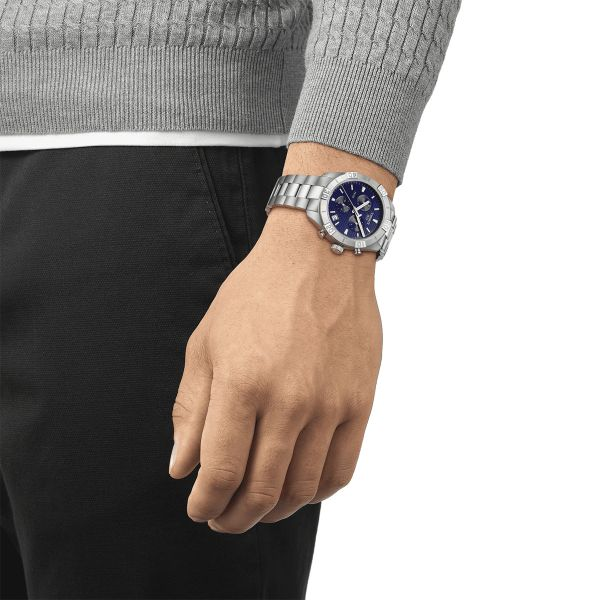 Tissot PR 100 Sport Gent Stainless Steel and Blue Dial 42mm Men's Watch