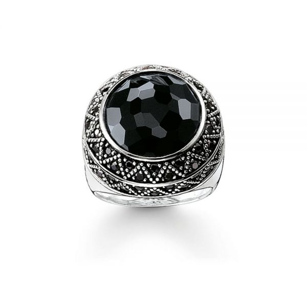 Thomas Sabo Sterling Silver and Blackened Onyx Zirconia Ring - Size 54