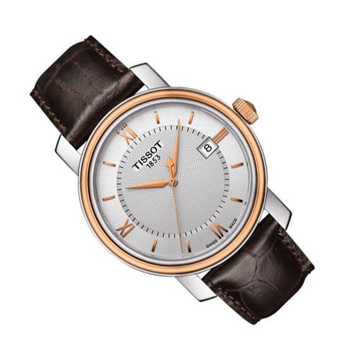 Tissot Bridgeport Gents Watch (Silver/Rose Gold/Brown)
