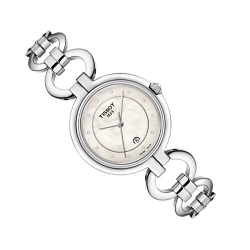 Tissot Flamingo Ladies Watch with White Mother of Pearl (Silver)
