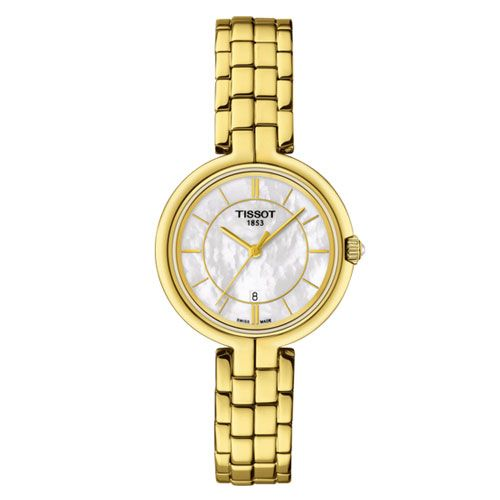 Tissot Flamingo Ladies Watch with White Mother of Pearl (Gold)
