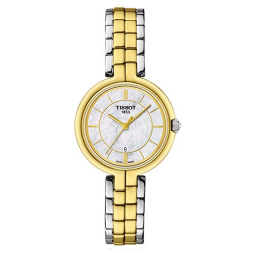 Tissot Flamingo Ladies Watch with White Mother of Pearl (Silver/Rose Gold)