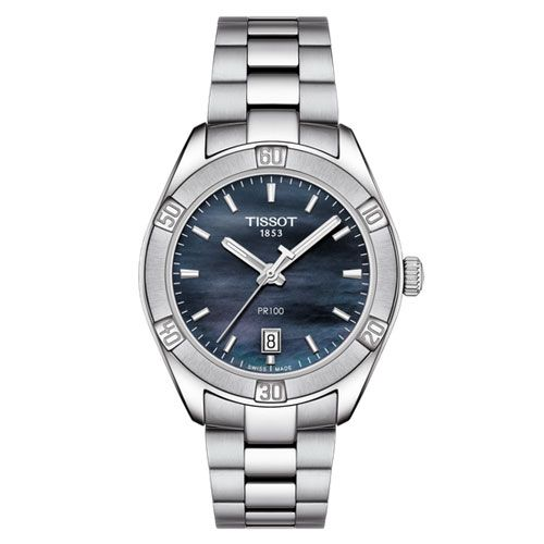 Tissot PR 100 Sport Chic Ladies Watch with Black Mother of Pearl (Silver)