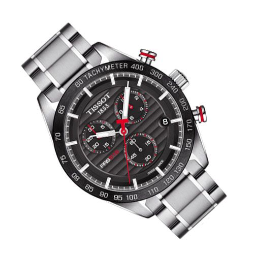 Tissot PRS 516 Chronograph Gents Watch (Black/Silver/Red)