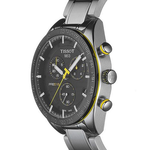 Tissot PRS 516 Chronograph Gents Watch (Black/Silver/Yellow)