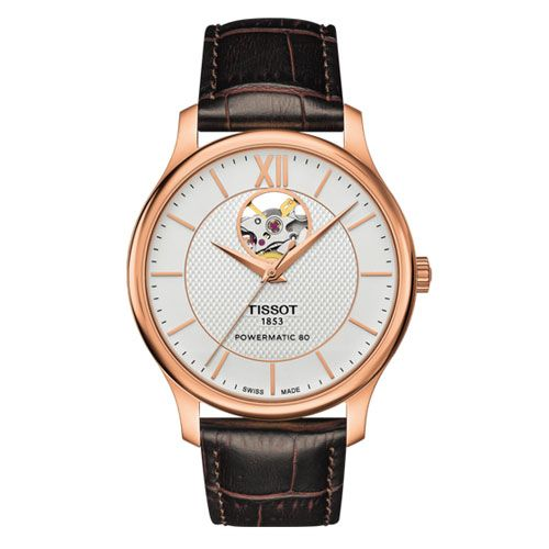 Tissot Tradition Powermatic 80 Open Heart Gents Watch (Rose Gold/Brown)