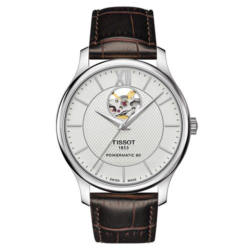 Tissot Tradition Powermatic 80 Open Heart Gents Watch (Silver/Brown)