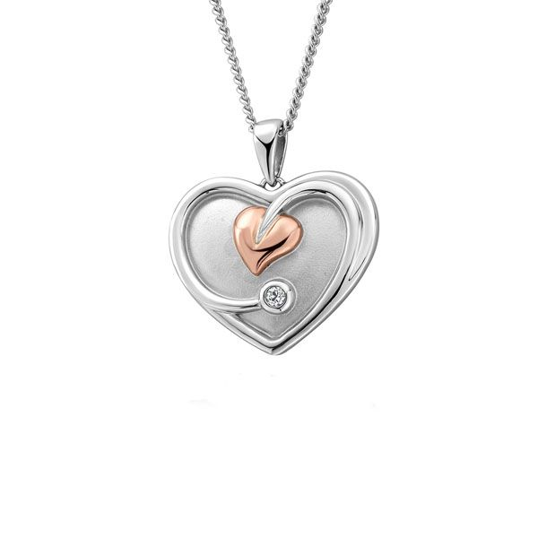 Clogau Silver Tree Of Life Heart White Topaz Pendant Necklace