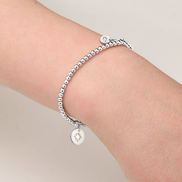 Clogau My True North Affinity Beaded Bracelet with a Silver & Rose Gold Charm