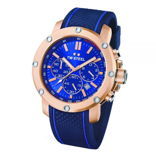 TW Steel Grandeur Tech 48mm Blue & Rose Gold PVD Men's Watch