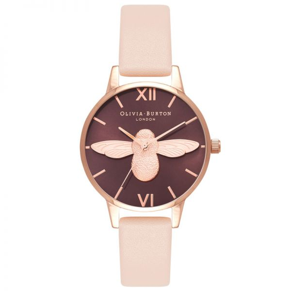 78725705c Olivia Burton Ladies Moulded Bee Purple Dial Rose Gold Plated Case