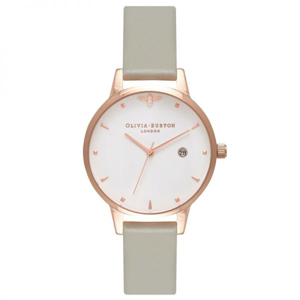 Olivia Burton Queen Bee Grey   Rose Gold Watch d649f26ed3