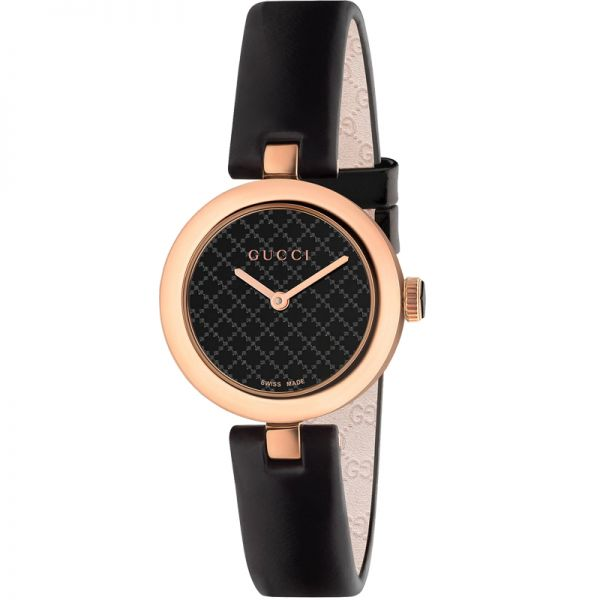 5261f4706d2 Gucci Women s Diamantissima Timeless Black and Rose Gold Watch