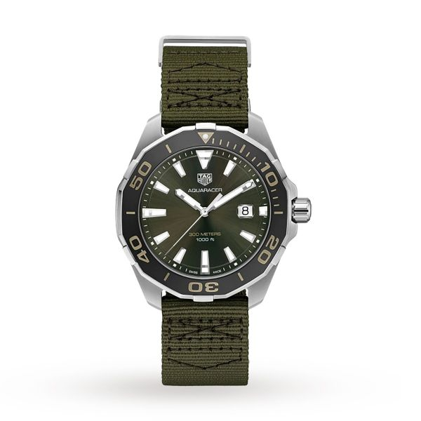 TAG Heuer Men's Stainless Steel Aquaracer Watch with Khaki Strap