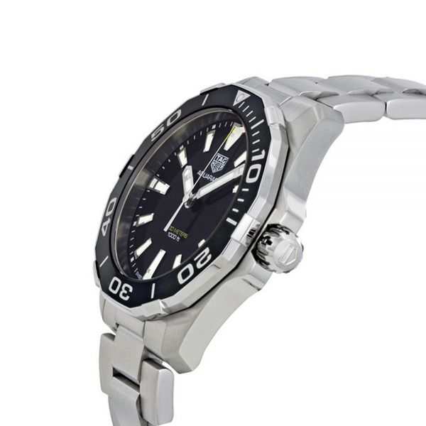 Tag Heuer Mens Stainless Steel Black Dial Aquaracer Watch