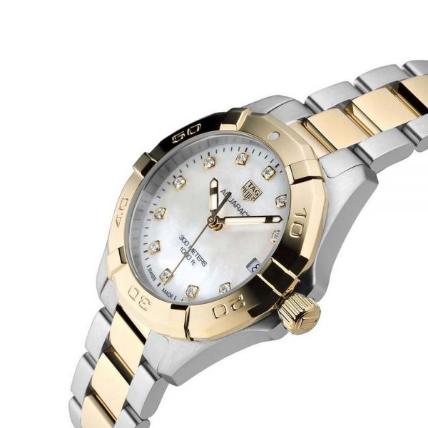 TAG Heuer Aquaracer Stainless Steel and Gold Plated Ladies Watch (WBD1322.BB0320)