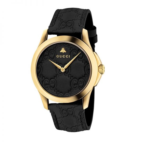 Gucci Gold & Black Leather Strap Signature Ladies Watch