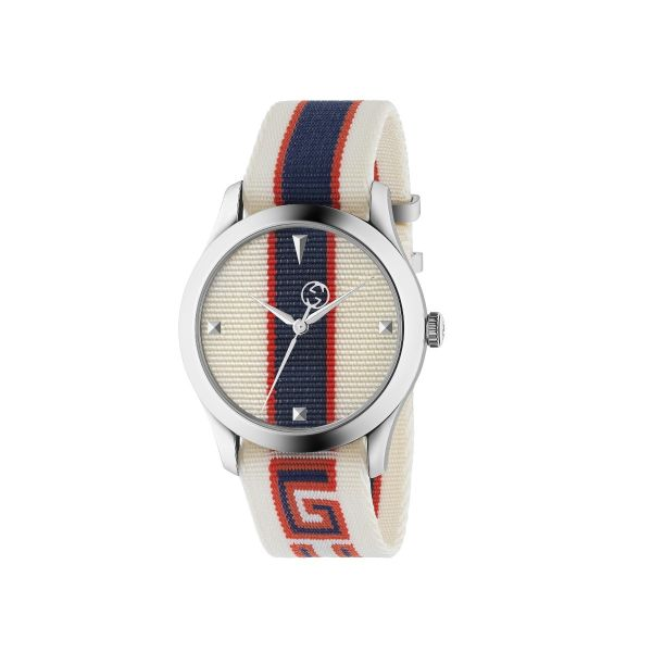 Gucci G-Timeless Red, White, & Blue Striped Nylon Watch