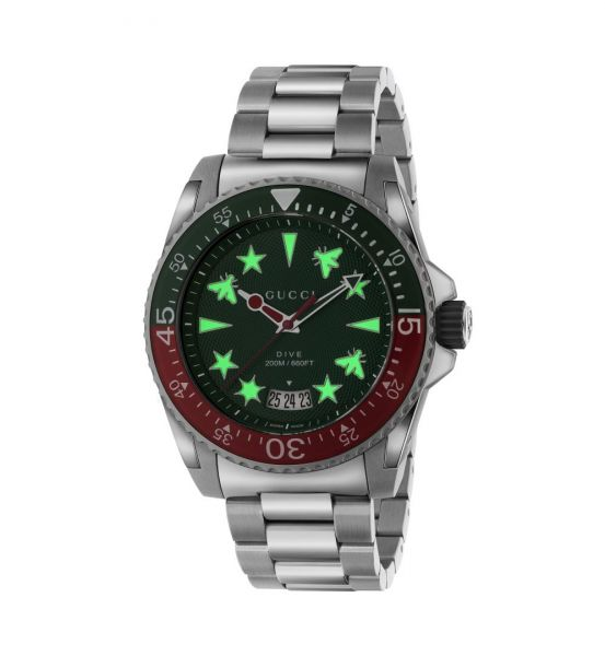 GUCCI MENS DIVE 45MM GREEN DIAL WATCH