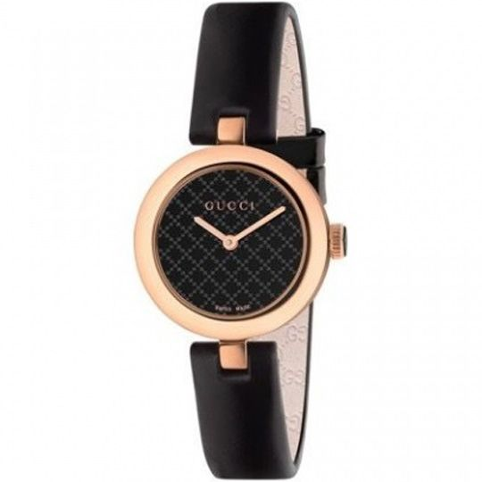 Gucci Ladies Diamatissima Black Lacquered Dial Pink Gold PVD Leather Watch