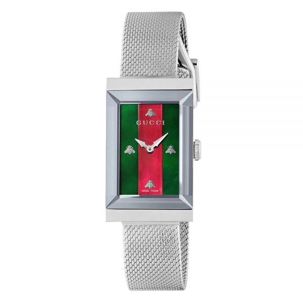 e525ee497e0 Gucci Ladies G-Frame Mesh Striped Dial Watch
