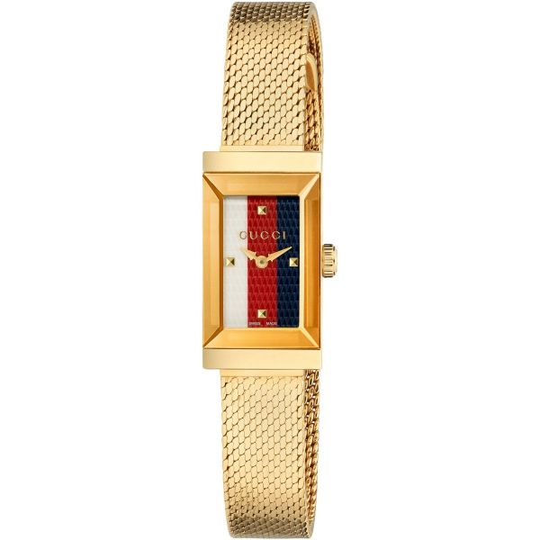 Gucci Ladies Gold Mesh Striped Dial Watch