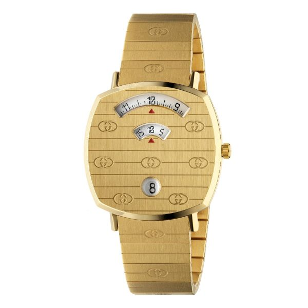 Gucci Grip 35mm Yellow Gold PVD GG Engraved Watch