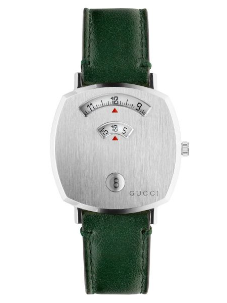 Gucci Grip 38mm Stainless Steel & Interchangeable Green Leather Strap Watch