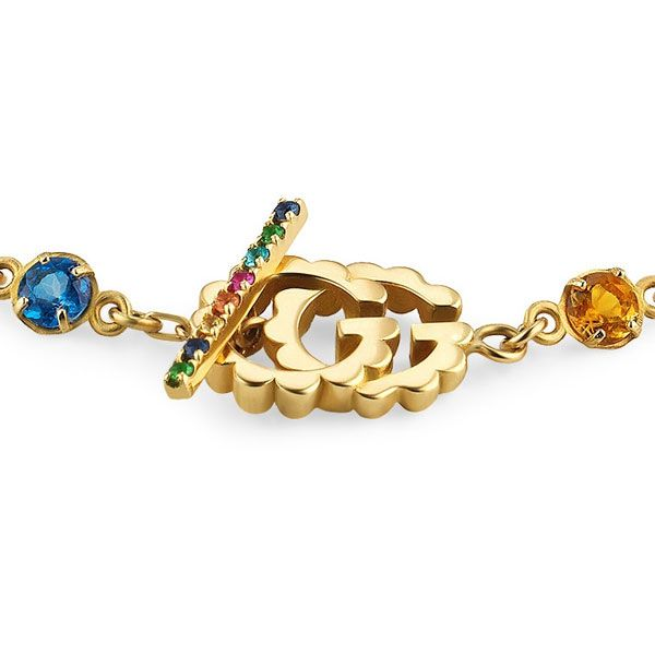 Gucci 18ct Yellow Gold Double G Bracelet with Multi-Coloured Stones
