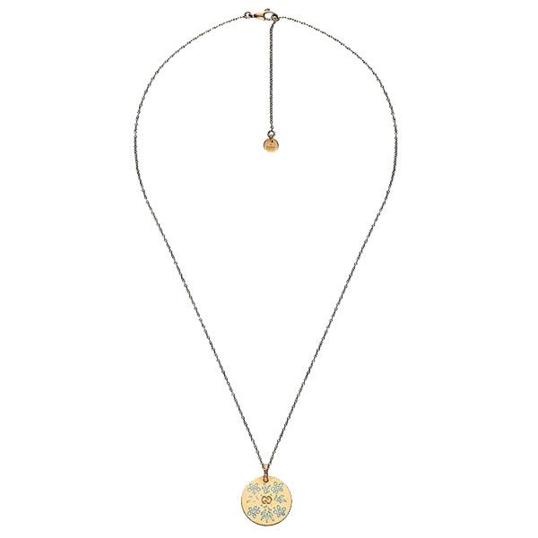Gucci 18ct Yellow Gold & Enamel Icon Bloom Disc Necklace