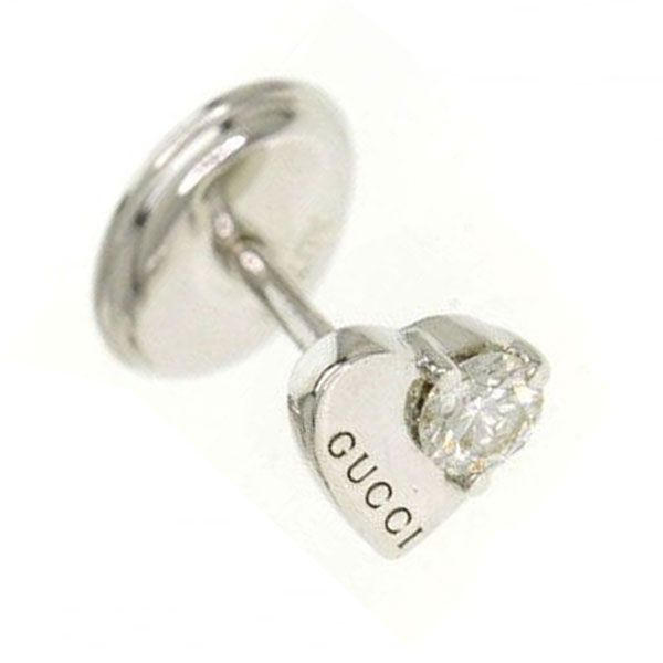 Gucci Trademark 18ct White Gold and Diamond Heart Earrings