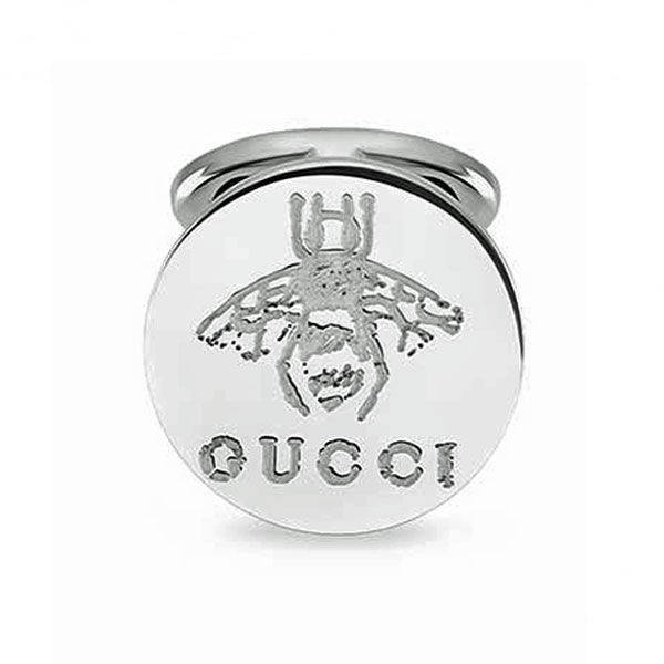 Gucci Men's Rhodium Plated Sterling Silver Bee Motif Cufflinks