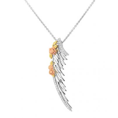 4ce316c422a6c7 Theo Fennell 18ct White, Yellow & Rose Gold Diamond Angel Wing Pendant