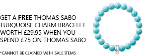 Free Turquoise Thomas Sabo Charm Bracelet when you spend £75 or more on Thomas Sabo
