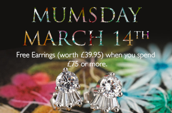 Free Earrings when you spend £75 or more.